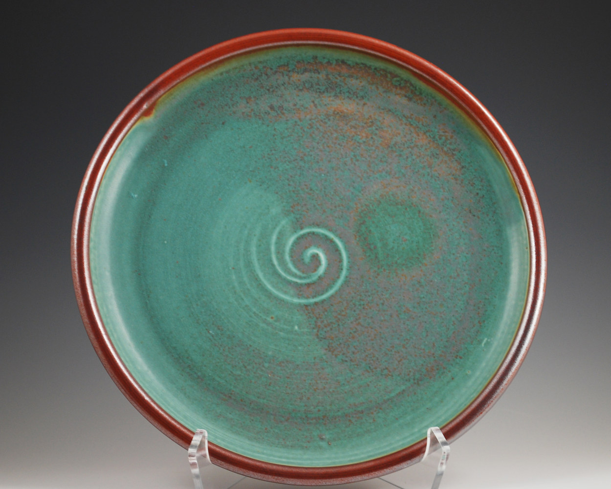 Turquoise Stone Plate with Rust Red Rim by Mark  Goertzen