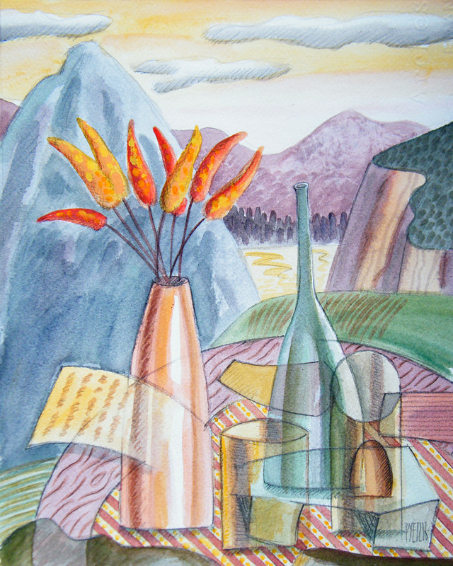 Acrylic painting Still Life With the Mount of Great Good Fortune by Trevor Pye