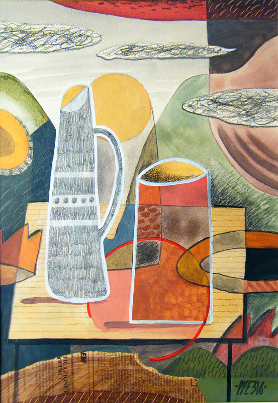 Acrylic painting Still Life With Modernist Leanings 2 by Trevor Pye