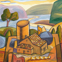 Acrylic painting Tiny House as Still Life With Landscape by Trevor Pye