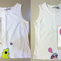 Patched sleeveless T's by Pat Auterieth
