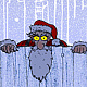 Santas Watching Card Art by Steve Ferris
