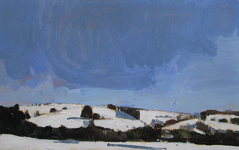 Acrylic painting Snow Hills, Return by Harry Stooshinoff