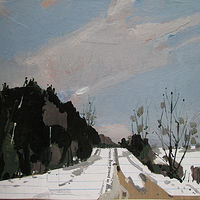 Acrylic painting Forest Road, January 3 by Harry Stooshinoff