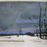 Acrylic painting South Field at Dusk by Harry Stooshinoff