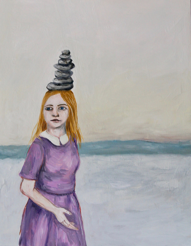 Oil painting girl with a cairn by Katherine Bennett