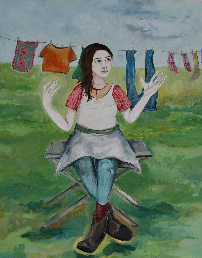 Oil painting woman waiting on laundry by Katherine Bennett