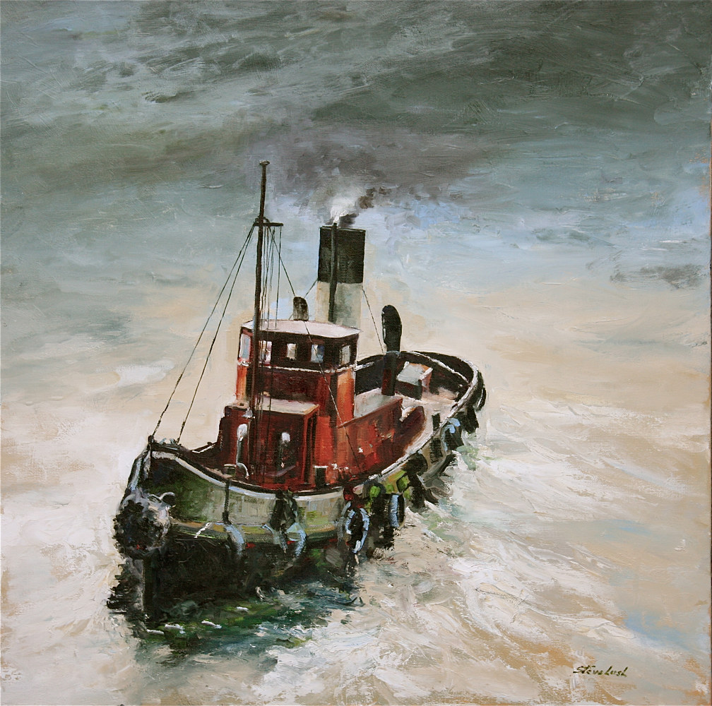 Oil painting The Harbor Tug by Nella Lush