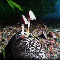 Acrylic painting Life Happens anywhere Mushrooms on Pinecone-11x14 by Frans Geerlings