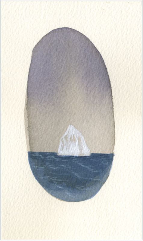 Acrylic painting Rebecca Chaperon - Night Owl at Dawn (Mini Iceberg #73) by Julie Gladstone