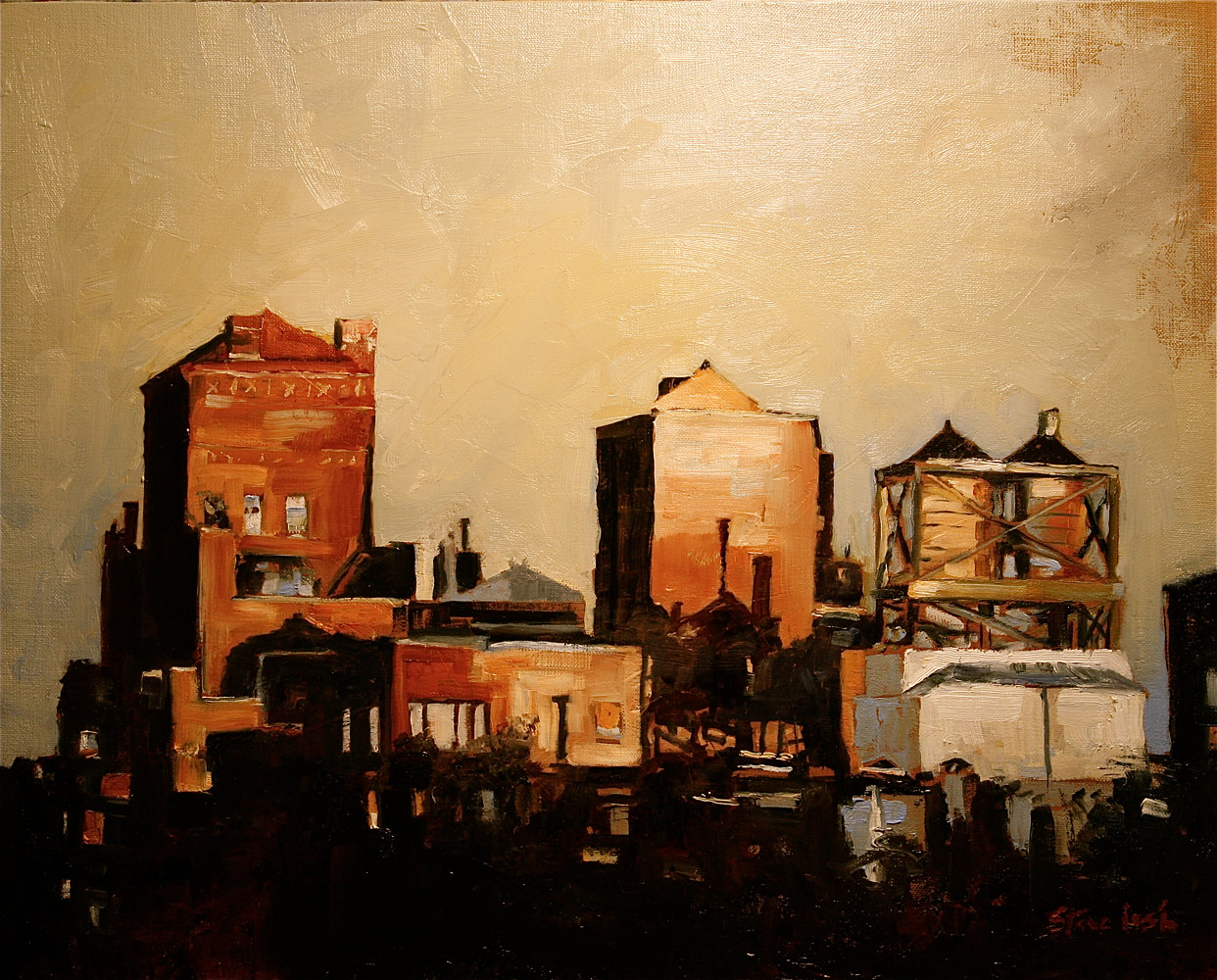 Oil painting Rooftops by Nella Lush