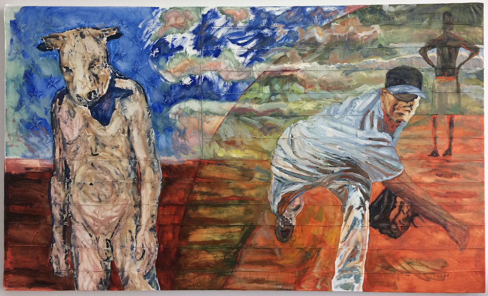 Oil painting Strikeout, 3 x 5, Oil on sewn and embroidered canvas by Edward Miller