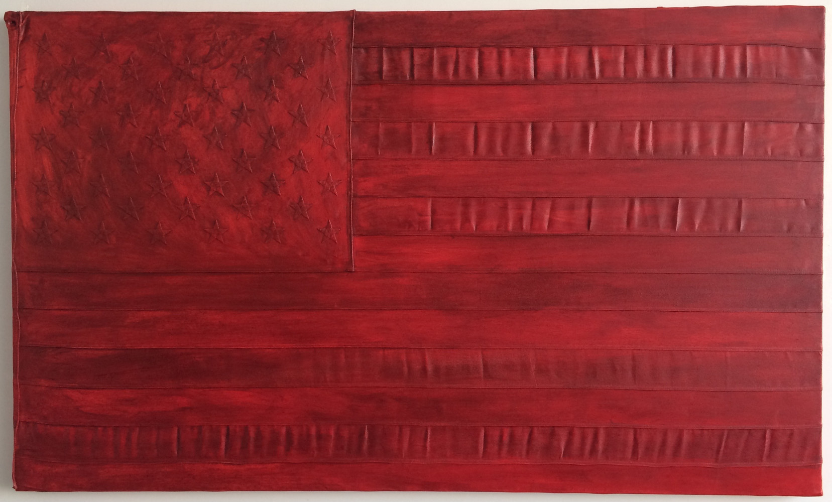 Oil painting Red Flag, 3 x 5, Oil on sewn and embroidered canvas by Edward Miller