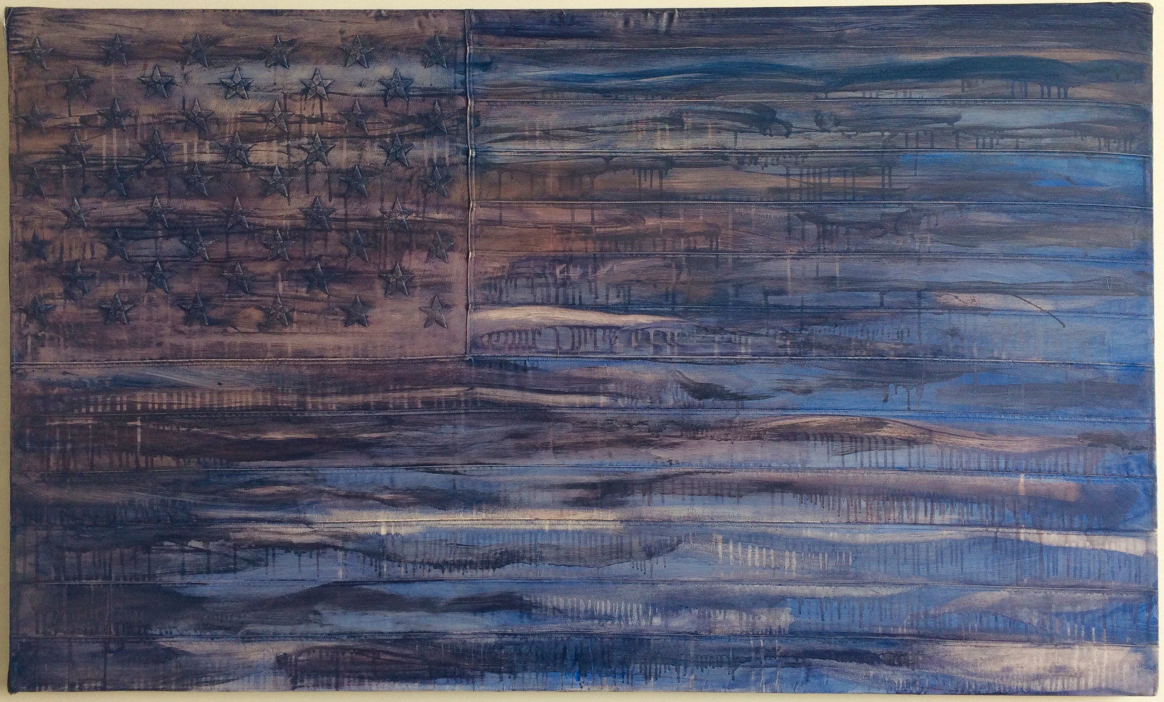 Oil painting Crepuscular Blues, 3 x 5, Oil on sewn and embroidered canvas by Edward Miller