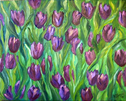 Oil painting Purple Tulips by Karen Spears
