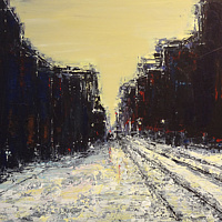 Acrylic painting Winter Tracks by David Tycho