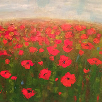 Acrylic painting Poppies II by Sally Adams
