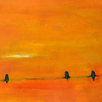 Acrylic painting October Sky by Sally Adams