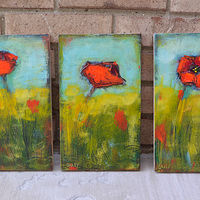 Acrylic painting 3 Poppy Blocks by Sally Adams