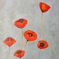 Acrylic painting Poppy Dance by Sally Adams