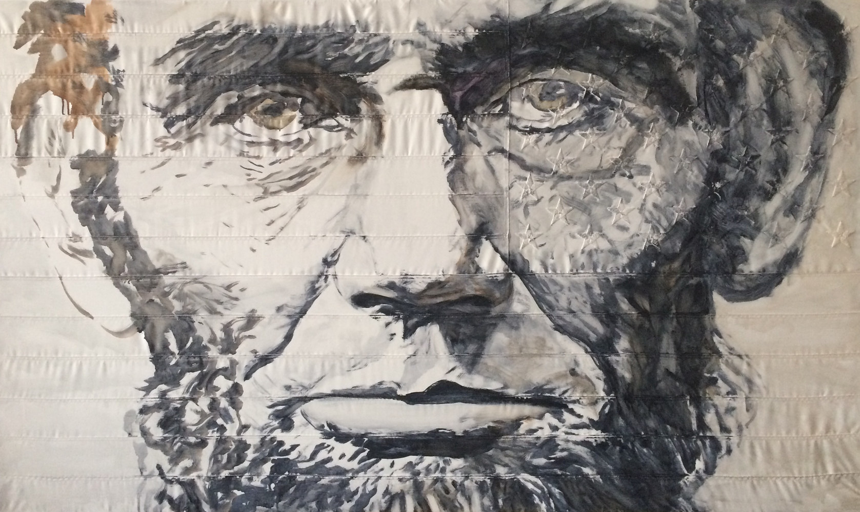 Oil painting Uncle Abe, 3 x 5, Oil on sewn and embroidered canvas by Edward Miller