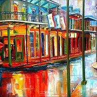 Oil painting Downpour on Bourbon Street by Diane Millsap