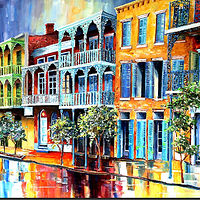 Oil painting Rain in Old New Orleans  by Diane Millsap