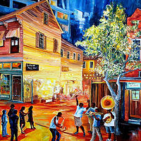 Oil painting Frenchmen Street Funk by Diane Millsap