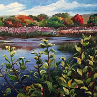 Oil painting The Great Swamp by Betty Ann  Medeiros
