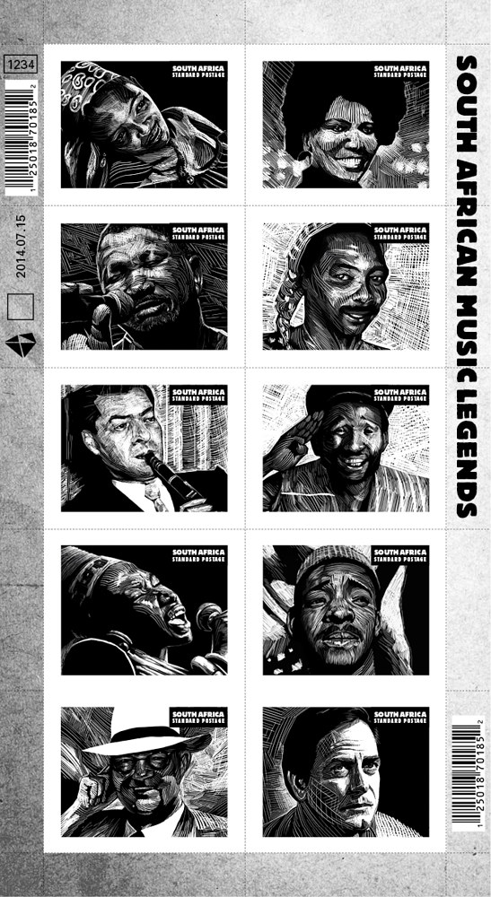 Stamp Series: South African Music Legends 2016 by Hendrik Gericke