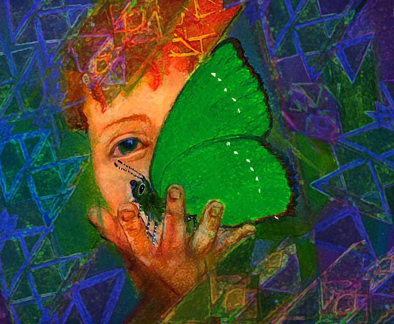 Watercolor green butterfly by Frederica  Hall