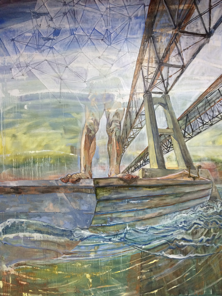 Man Standing in Rowboat, 9'x7', Oil on linen by Edward Miller