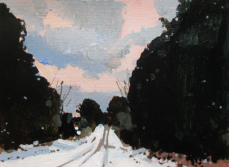 Acrylic painting Devil's Pass, Snow Road by Harry Stooshinoff