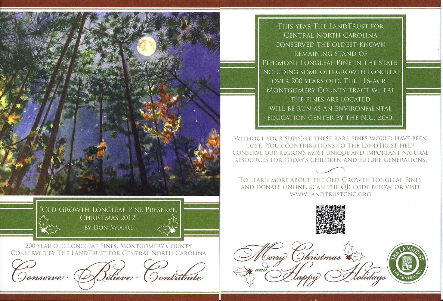 NC Land Trust Xmas Card - 2012 by Don Moore