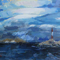 Oil painting Lighthouse Near Ushuaia by William Sharp