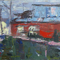 Oil painting Red House in Ushuaia by William Sharp