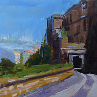 Oil painting Along the Ramparts Forte Sangallo by William Sharp