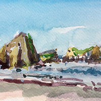 Painting Rocks-near-Cannon-Beach-wtr by William Sharp