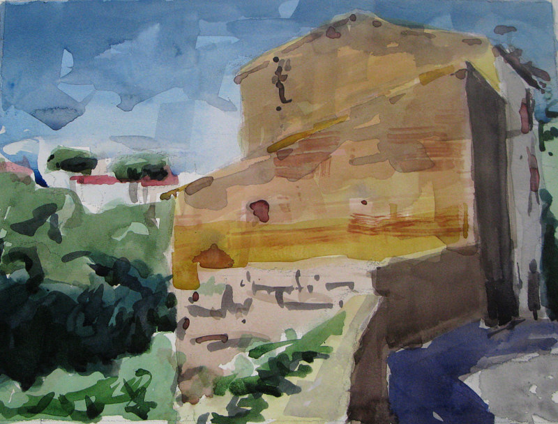 Watercolor Civita Castellana - Along The Wall  - SOLD by William Sharp