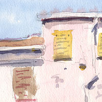 Watercolor Civita Castellana Inner Residence by William Sharp