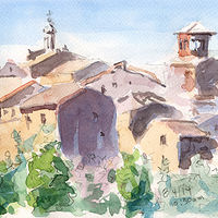 Watercolor Civita Castellana from New Town to Old by William Sharp