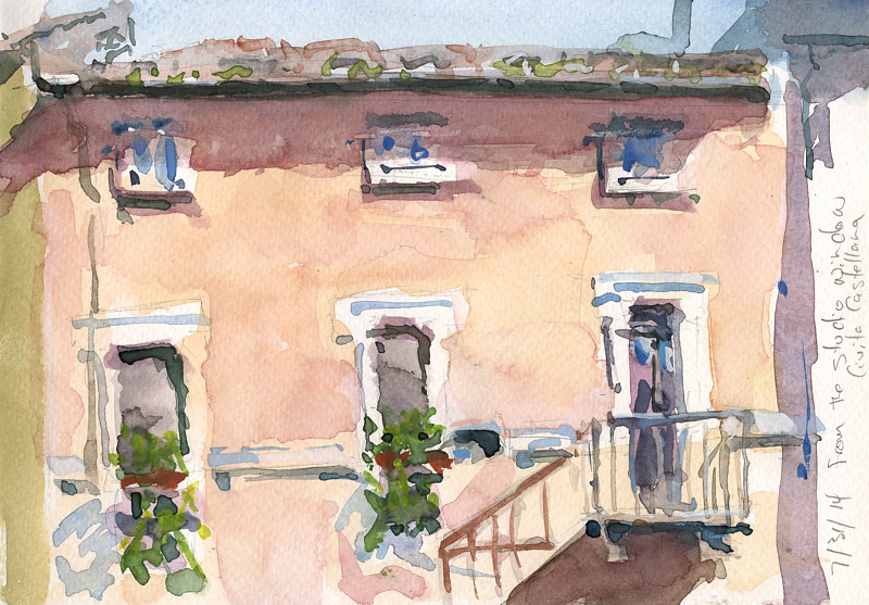Watercolor Civita Castellana Across from the studio by William Sharp