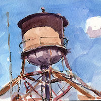 Watercolor Centennial Mills Water Tower by William Sharp
