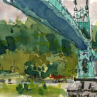 Watercolor St Johns Bridge from Cathedral Park Portland  by William Sharp