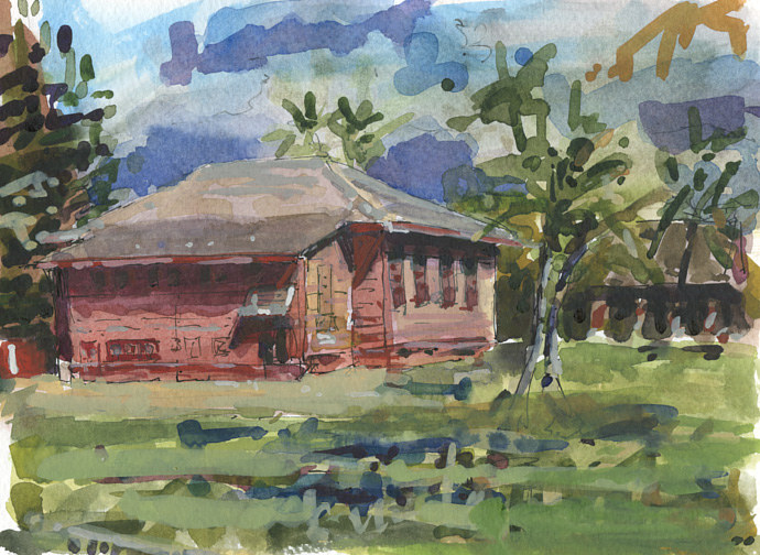 Watercolor All Saints Episcopal Church, Kauai by William Sharp