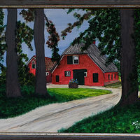 Acrylic painting Dutch Farm House-9x12 by Frans Geerlings
