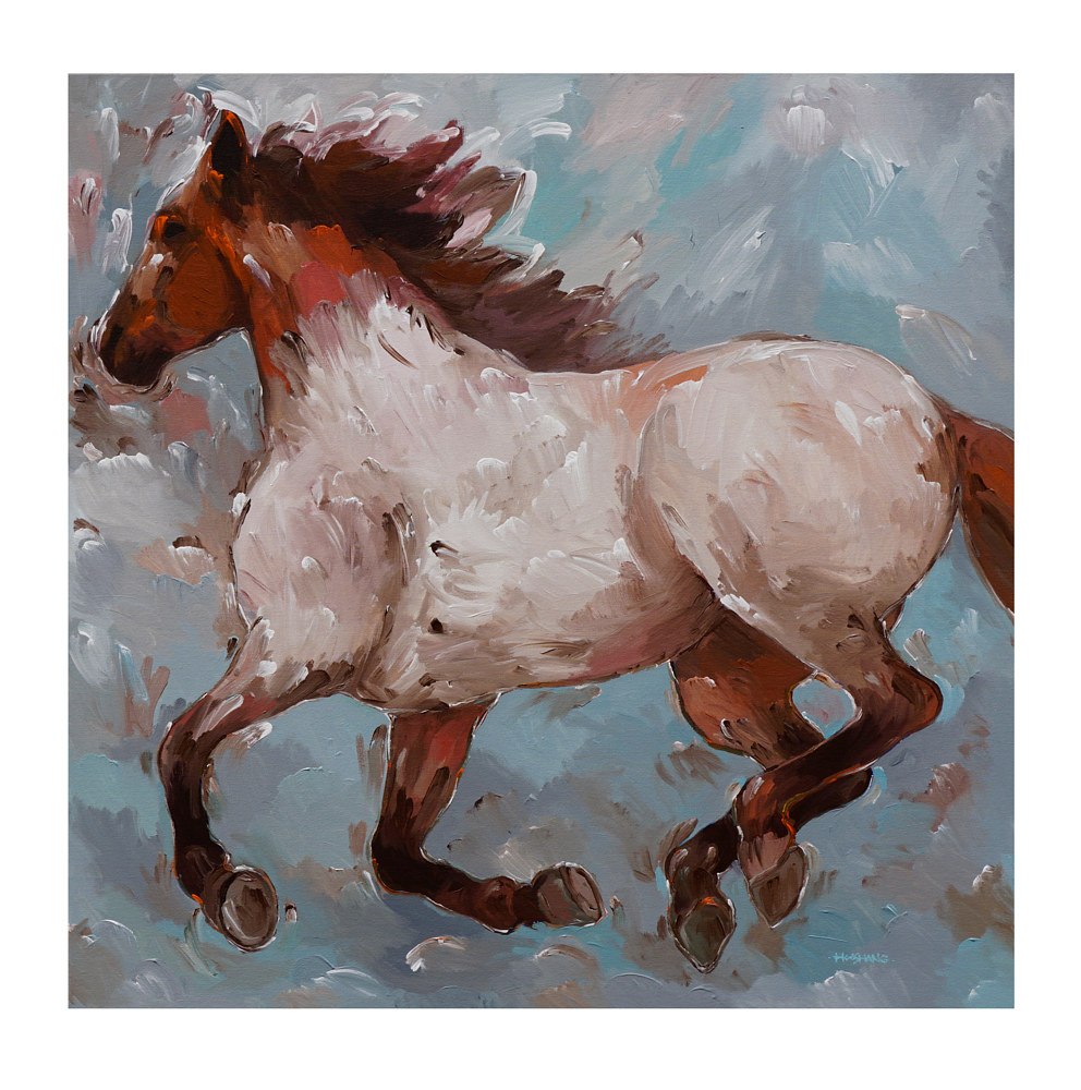 Acrylic painting Roan Runner, 36x36 inches by Hooshang Khorasani