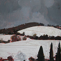 Acrylic painting Snow Fields, February 5 by Harry Stooshinoff