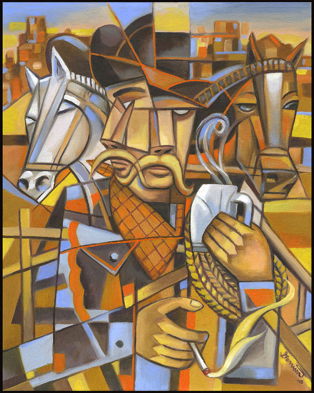 "Painting ""Cowboy Cubism"" by Christine Garrison"