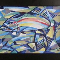 "Oil painting ""Rainbow Trout"" by Christine Garrison"